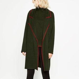 Zara olive green oversized sweater coat cardigan